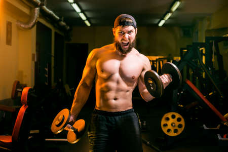 brawny: man in the gym training with dumbbells Stock Photo