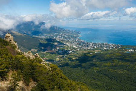 Aerial view of Yalta city from Ai-Petri mountain in Crimea Stock Photo