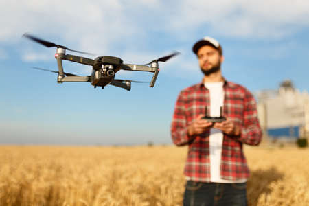 Compact drone hovers in front of farmer with remote controller in his hands. Quadcopter flies near pilot. Agronomist taking aerial photos and videos in a wheat field Banco de Imagens