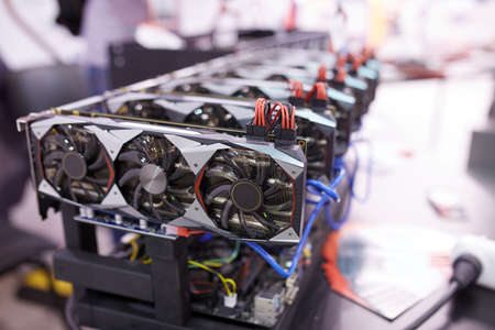 Cryptocurrency mining equipment - lots of gpu cards on mainboard