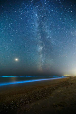 Long exposure shot of glowing plankton on sea surf and milky way. Blue bioluminescent glow of water under the starry sky. Rear nature phenomenon. Bright Mars planet among constellations in night sky.