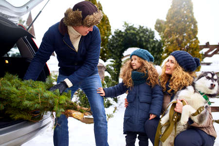Father brought christmas tree in large trunk of SUV car. Daughter, mother and dog meet dad happily help him with holidays home decorations. Family prepares for new year together. Snowy winter outdoors Stock Photo - 136792703