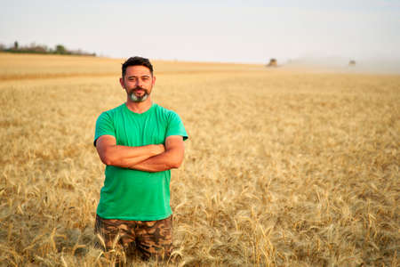 Happy farmer proudly standing in wheat field with arms crossed on chest. Agronomist wearing corporate uniform, looking at camera on farmland. Rich harvest of cultivated cereal crop. Harvesting season. 版權商用圖片