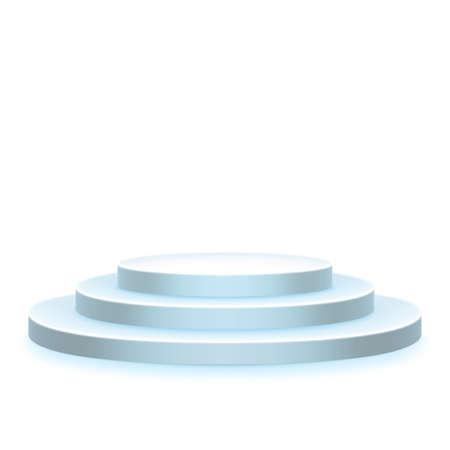 Stage podium, pedestal, scene isolated on white. Award ceremony object. Platform template.