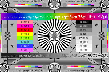 Adjusting camera lens test target color chart. Tv screen background. Vettoriali
