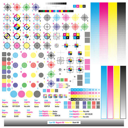 Elementy zarządzania kolorami CMYK. Publikowanie narzędzi symboli graficznych. Naciśnij znak. Kalibracja, ślady cięcia. Ilustracje wektorowe