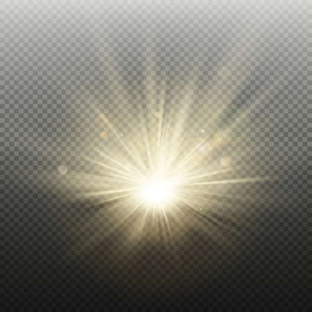 Sunset or sunrise golden glowing bright flash effect. Warm burst with rays and spotlight. Sun realistic lights template. Stock Vector - 115103876