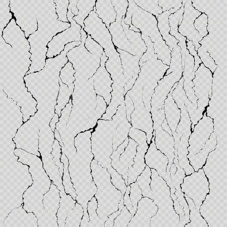 Set of seven realistic wall cracks. Easily for color change. Isolated on light transparent background. Illustration