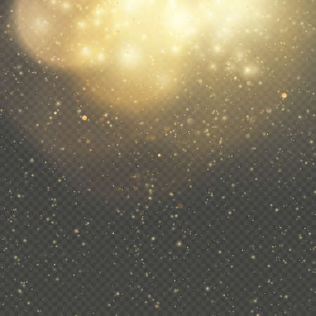 Christmas or New Year glowing sparkles rain. Abstract gold glitter space nebula shine effect. Golden dust overlay layer. Twinkling confetti, shimmering dot lights.