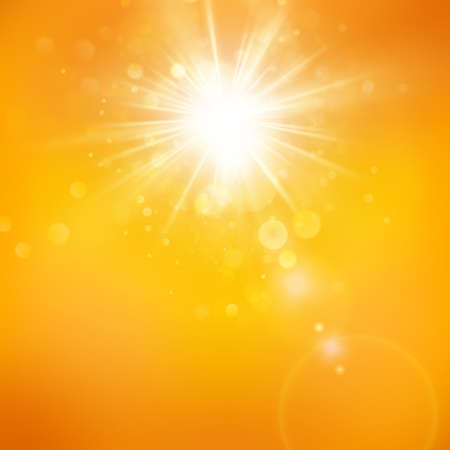 Enjoy the sunshine. Warm day light. Summer background with a hot sun burst with lens flare.