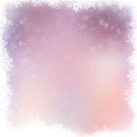 Christmas illustration with white blurred and clear snowflakes on pink background.