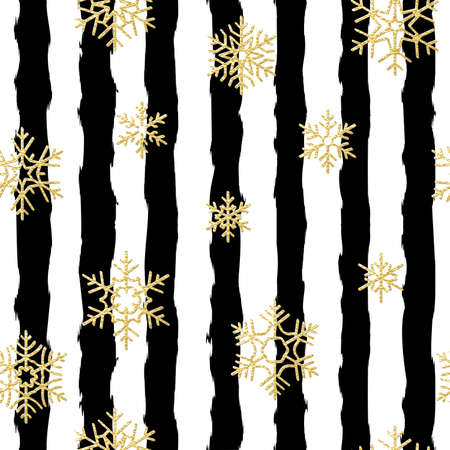 Seamless pattern design. Gold glittering snowflakes on black and white striped background. Illustration