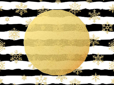 Chic and luxury Christmas postcard with gold glitter foil greeting card. Black stripes, snowflakes, golden glittering circle element.