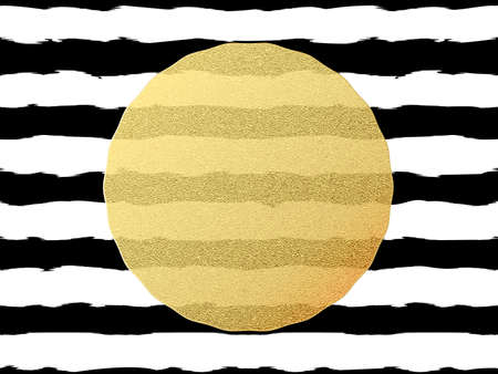 Chic and luxury postcard with gold glitter foil greeting card. Black stripes, golden glittering circle element.