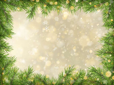 Christmas gold bokeh with tree branches frame background. Vektorové ilustrace