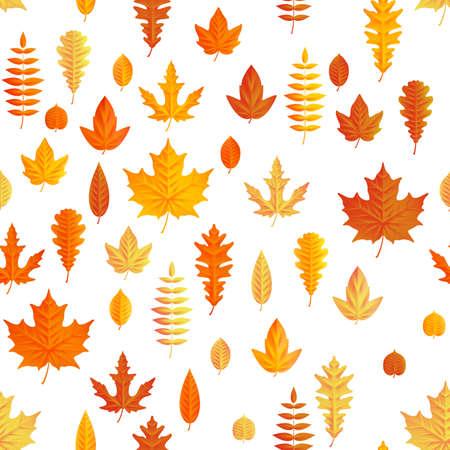 Autumn composition. Seamless autumn maple leaves pattern. Illustration