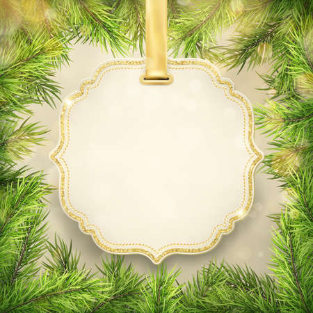 Christmas tree branches frame with label, tag frame decoration for New Year holiday sale shopping promotion. Vektorové ilustrace