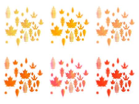 Ensemble de feuilles d'automne ou d'icônes de feuillage d'automne. Feuille d'érable, de chêne ou de bouleau et de sorbier des oiseleurs. Chute des feuilles d'automne de peuplier, de hêtre ou d'orme et de tremble pour la conception de cartes de voeux de vacances saisonnières.