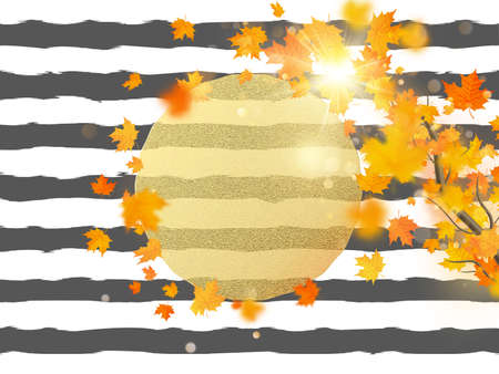 Gold circle with autumn maple leaves background. Season template for design banner, ticket, leaflet, card, poster and another.
