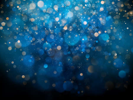 Christmas and New Year template with white blurred snowflakes, glare and sparkles on blue background.