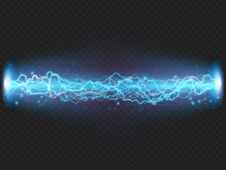 Lightning flash discharge of electricity on transparent background. Blue electrical visual effect. EPS 10 vector file Vettoriali