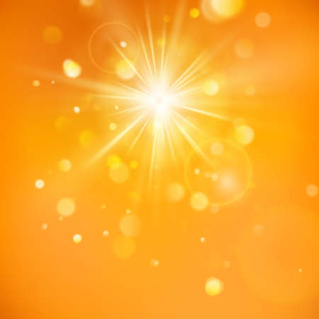Enjoy the sunshine. Warm day light. Summer background with a hot sun burst with lens flare. EPS 10 vector file Vettoriali
