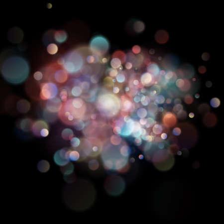 Abstract defocused circular color bokeh on dark background. EPS 10 vector file Illustration