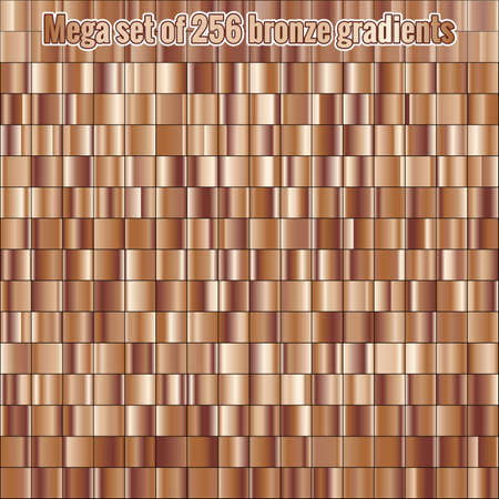 Mega set consisting of collection 256 bronze foil gradients. Metallic texture. Shiny background.