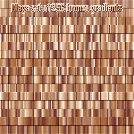 Mega set consisting of collection 256 bronze foil gradients. Metallic texture. Shiny background.