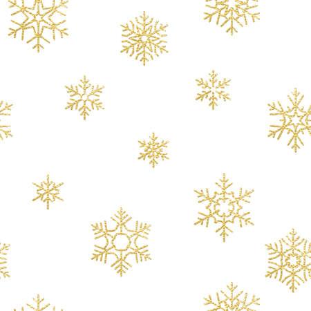 Effetto decorativo per le vacanze di buon Natale. Modello senza cuciture dorato del fiocco di neve. File vettoriale EPS 10 Vettoriali