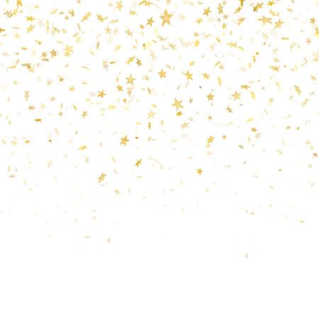 Festlicher Mustereffekt des Goldsternkonfettiregens. Goldene Lautstärkesterne, die isoliert auf weißem Hintergrund herunterfallen. EPS-10-Vektordatei