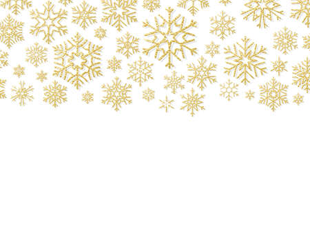 Christmas card with gold snowflakes. Elements for New Year holiday design template. EPS 10 vector file