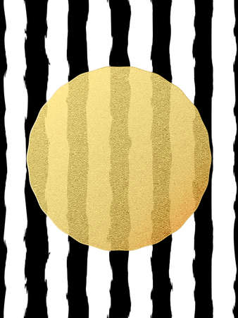 Chic and luxury postcard with gold glitter foil greeting card. Black stripes, golden glittering circle element. EPS 10 vector file Çizim