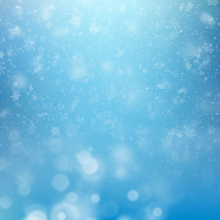 Winter background, falling snowflakes over winter bokeh template with copy space. EPS 10 vector file included