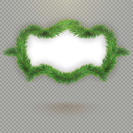 Christmas decorative fir tree frame with copy space and shadow. EPS 10 vector file included