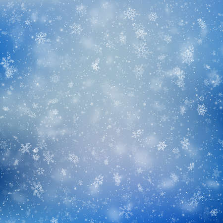 Decorative winter blue card with white snowflakes. EPS 10 vector file