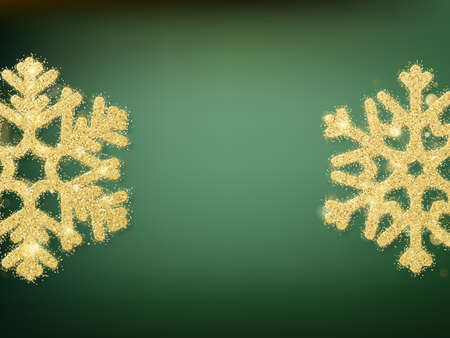 Green blurred bokeh lights for Christmas and New Year celebration. Magical template with glittery background and snowflakes. EPS 10 vector file
