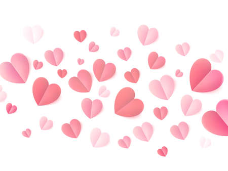 Soft color folded paper hearts isolated on white. EPS 10 vector file