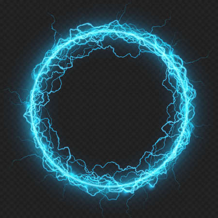 Round frame with charged energy elementary particle, glowing lightning, electric element. Isolated on transparent background. EPS 10 vector file
