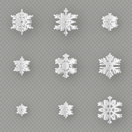 Set of nine different paper snowflake cut from paper isolated on transparent background. Merry Christmas, New Year winter theme decoration object. EPS 10 vector file