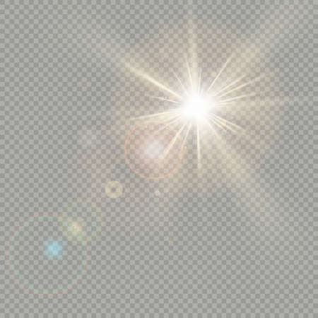Effect of bokeh circles with sun shine. Lens flare effect. EPS 10 vector file