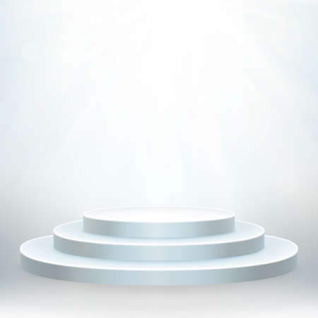Transparent realistic effect. Round podium with lights for event or award ceremony. EPS 10 vector file