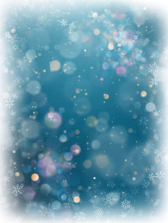 Christmas blue blurred bokeh light background. Holiday defocused glowing backdrop with blinking stars. EPS 10 vector file