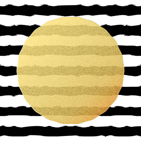 Chic and luxury postcard with gold glitter foil greeting card. Black stripes, golden glittering circle element. EPS 10 vector file Ilustrace