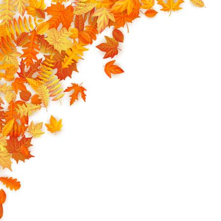 Ramka z czerwonymi, pomarańczowymi, brązowymi i żółtymi opadającymi jesiennymi liśćmi. Plik wektorowy EPS 10