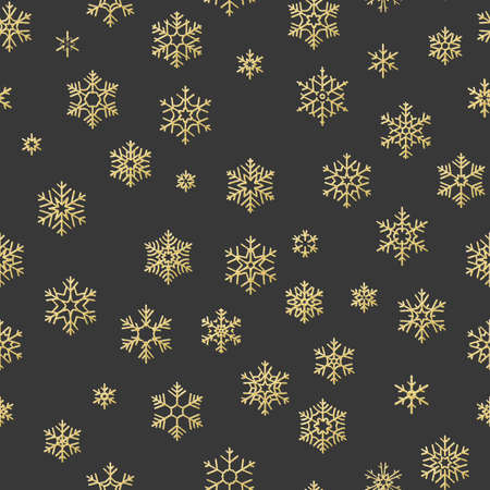 Seamless holiday texture, Christmas pattern with gold snowflakes decoration for textiles, brochure, card. EPS 10 vector file