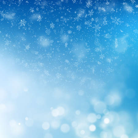 Blue Christmas background with snowflakes and blurry lights. EPS 10 vector file included