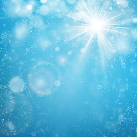 Delicate winter sunny day with blue sky and snowfall background. EPS 10 vector file included