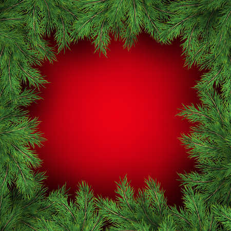 Christmas tree branches on red background. EPS 10 vector file included