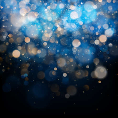 Christmas and New Year template with white blurred snowflakes, glare and sparkles on blue background. EPS 10 vector file included